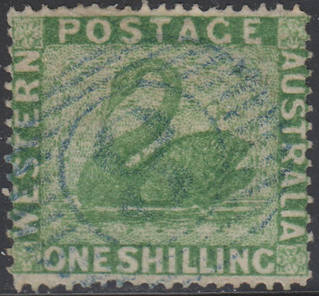 WESTERN AUSTRALIA SG 043a 1861 1/- Yellow-green, Used Lightly Cancelled.