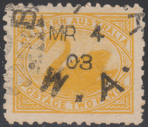 WESTERN AUSTRALIA SG 130 1902-12 2d Yellow, Used March 4 1903 Being Earliest Dat