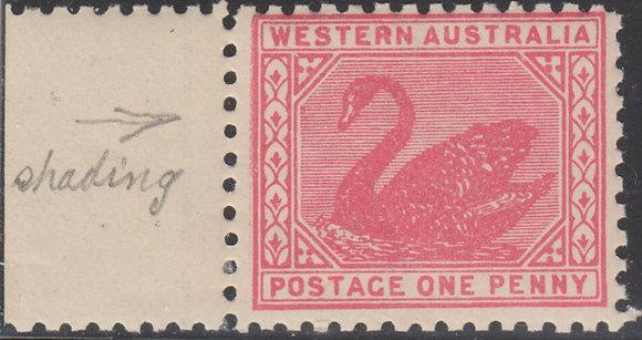 WESTERN AUSTRALIA SG 151b 1905-12 1d Rose-pink, Marginal mint Hinged,