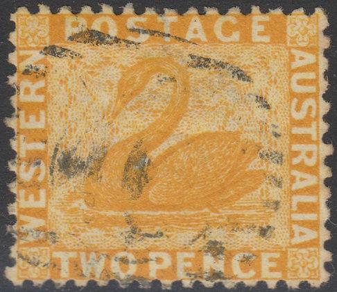 WESTERN AUSTRALIA SG 054 1864-79 2d Chrome-yellow, Used.