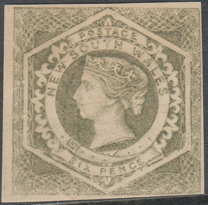 NEW SOUTH WALES SG 095 1854-59 6d Olive-grey, Diadem, Mint Hinged.
