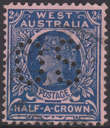 WESTERN AUSTRALIA SG 125 OS 1902-11 2/6d Deep Blue on Pink, Used Punctured OS.