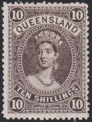 QUEENSLAND SG 311a 1907-11 10/- Sepia, Mint Lightly Hinged.