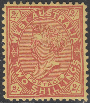 WESTERN AUSTRALIA SG 124 1902-11 2/- Brownish Red on Yellow, Mint Hinged.