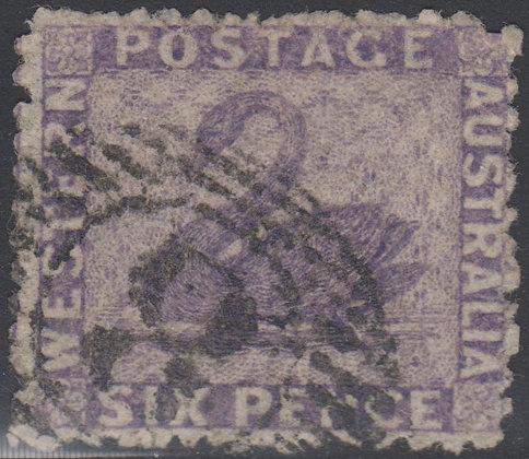 WESTERN AUSTRALIA SG 051 1863-64 6d Deep Lilac, Used 15 Bar 8 of Fremantle.