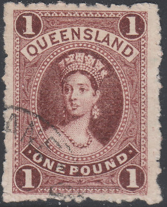 QUEENSLAND SG 161a £1 Plum COLOUR TRIAL WITH RE-ENTRY AT BASE