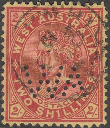 WESTERN AUSTRALIA SG 124 WA 1902-11 2/- Brownish Red on Yellow Used Punctured WA