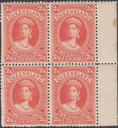 QUEENSLAND SG 158 2/6d Vermilion, Fine Block of 4 Mint Large Part Hinged Gum.