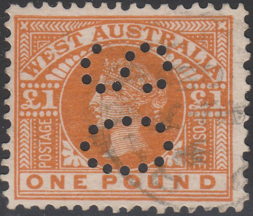 WESTERN AUSTRALIA SG 128 OS 1902-11 £1 Orange-brown, Fine Lightly Used,