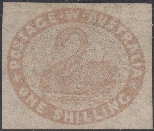 WESTERN AUSTRALIA SG 004c 1854-55 1/- Pale Brown. Fine Unused