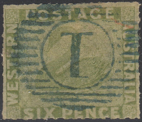 WESTERN AUSTRALIA SG 032 1860-64 6d Sage-green