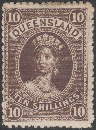 QUEENSLAND SG 160 10/- Brown Fine Mint Hinged. Pre Printing Paper Crease.
