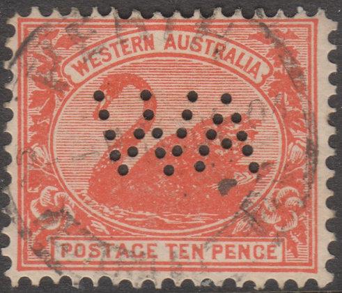 WESTERN AUSTRALIA SG 123 WA 1902-11 10d Red, Fine Used Punctured WA.