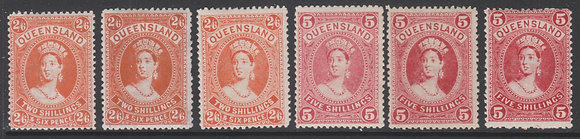 QUEENSLAND SG 309-312d 1907-11 Large Chalons Complete, All Shades per SG.