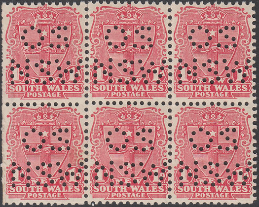 NEW SOUTH WALES SG 314 Block of 6 Puntured OS / NSW