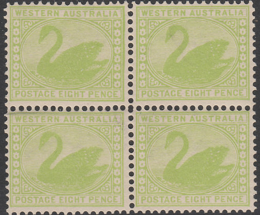 WESTERN AUSTRALIA SG 121 1902-11 8d Green, Mint Unhinged Block of 4.
