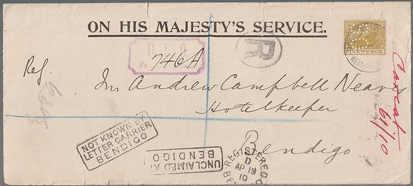 WESTERN AUSTRALIA 1910 ( 11FEB ) OHMS ENVELOPE