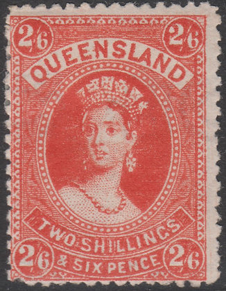 QUEENSLAND SG 162 1882-95 2/6d Vermilion, Mint Hinged.