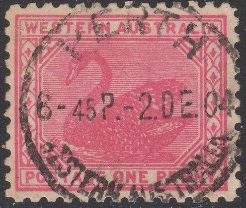 WESTERN AUSTRALIA SG 129a 1902-11 1d Rose-red, Perf 11 Fine Used, 2 Dec 1904 Per