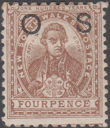 NEW SOUTH WALES SG O41 4d Purple-brown, OS