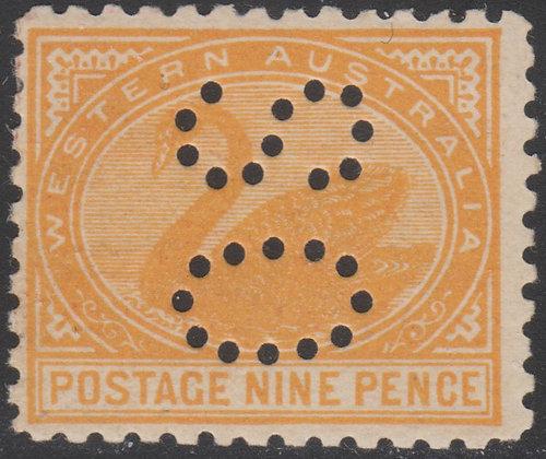 WESTERN AUSTRALIA SG 157 OS 9d Orange-yellow, Mint Lightly Hinged, Punctured OS,
