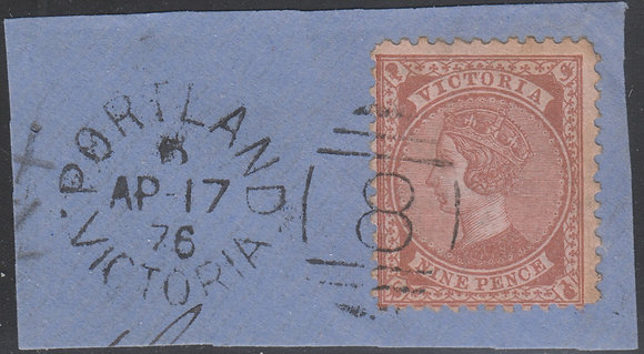 VICTORIA SG 185 9d Lilac-brown on Pink Paper.