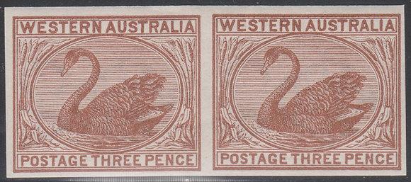 WESTERN AUSTRALIA SG 087 1882-95 3d Red-brown, Plate Proof Imperf Pair,