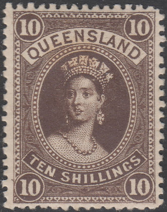 QUEENSLAND SG 160 10/- Brown Mint Hinged. Toned Gum.