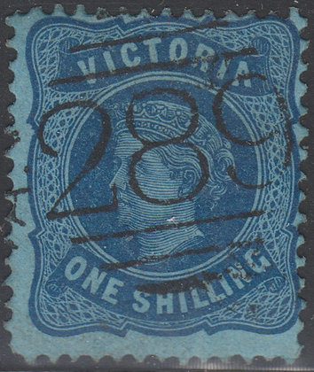 VICTORIA SG 180b 1/- Deep Blue on Blue Paper.