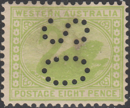WESTERN AUSTRALIA SG 121 OS 1902-11 8d Green, Mint Hinged Punctured OS.