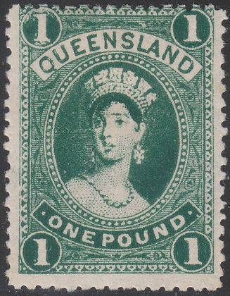QUEENSLAND SG 312d 1907-11 £1 Deep Yellowish Green. Mint Lightly Hinged.