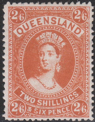QUEENSLAND SG 309a 1907-11 2/6d Dull Orange, Fine Mint Lightly Hinged.