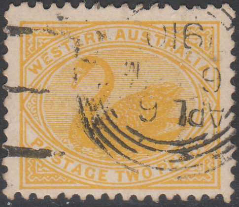 WESTERN AUSTRALIA SG 140a 1905-12 2d Yellow, Used, Upright Watermark.