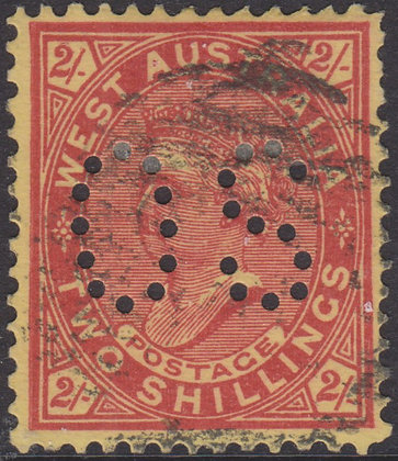 WESTERN AUSTRALIA SG 124a OS  2/- Brownish Red on Yellow, Watermark Sideways.