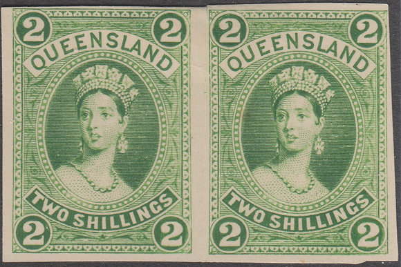 QUEENSLAND SG 152 PLATE PROOF COLOUR TRIAL PAIR IN YELLOW-GREEN