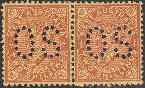 WESTERN AUSTRALIA SG 124b OS  2/- Orange-brown on Yellow, Mint unhinged Pair