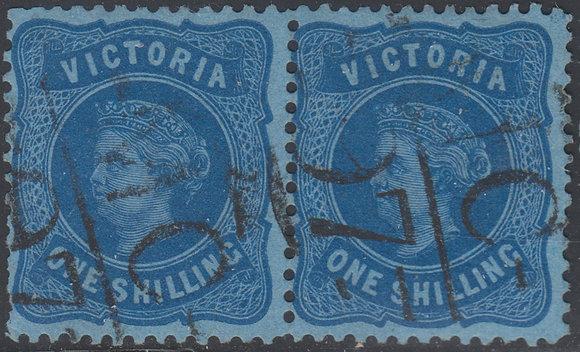 VICTORIA SG 186a 1/- Bright Blue on Blue Paper.