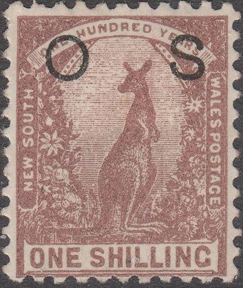 NEW SOUTH WALES SG O44b 1/- Purple-brown, OS