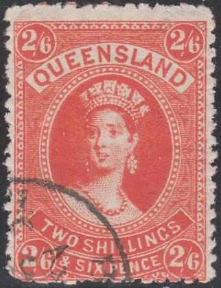 QUEENSLAND SG 162 1882-95 2/6 Vermilion. Canceled To Order. Large part Gum