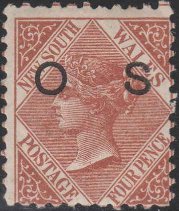 NEW SOUTH WALES SG O26a 4d Red-brown, OS
