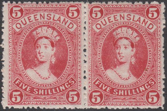 QUEENSLAND SG 310b 1907-11 5/- Carmine-red, Horizontal Pair,Mint Lightly Hinged.