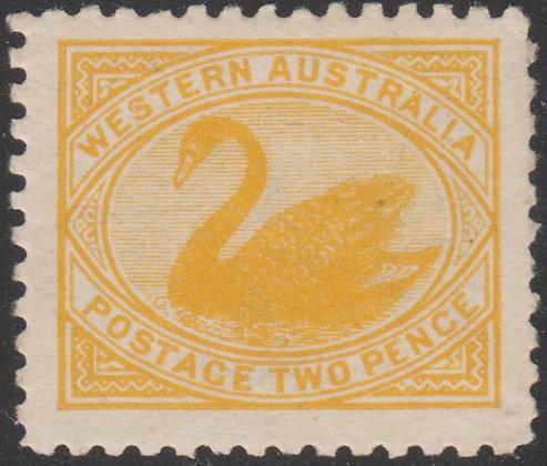 WESTERN AUSTRALIA SG 130 1902-11 2d Yellow, Perf 11, Fine Mint Lightly Hinged.