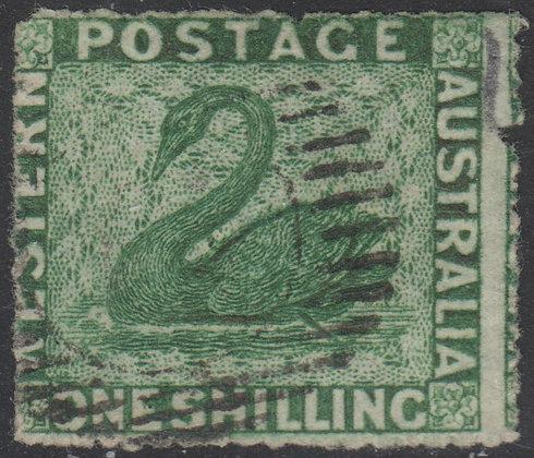 WESTERN AUSTRALIA SG 046 1861 1/- Deep Green, Fine Used, Nick in Right Side