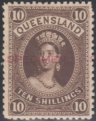 QUEENSLAND SG 160 & 165 SPECIMEN. In Red. Two Stamps.