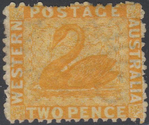 WESTERN AUSTRALIA SG 054 1864-79 2d Chrome-yellow, Mint Hinged.