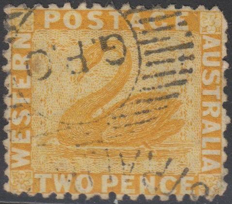 WESTERN AUSTRALIA SG 055 1864-79 2d Yellow, Used.