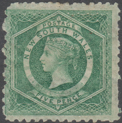 NEW SOUTH WALES SG 231 1882-97 5d Dull Green, Mint Hinged.