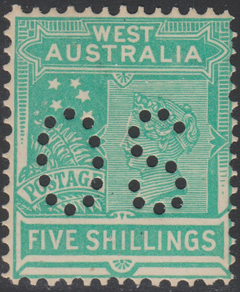 WESTERN AUSTRALIA SG 126 OS 1902-11 5/- Emerald-green, Mint Lightly Hinged Punct
