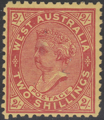 WESTERN AUSTRALIA SG 134 1902-11 2/- Brownish Red on Yellow, Mint Hinged. Perf 1