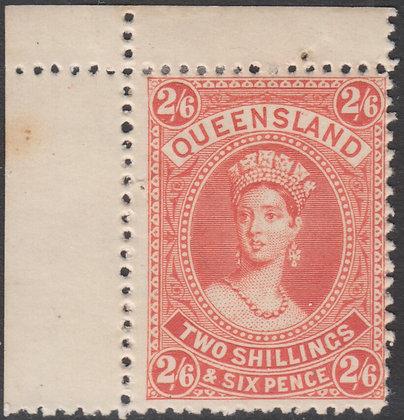 QUEENSLAND SG 158 1882-95 2/6d Vermilion, Thick Paper, Mint Hinged.